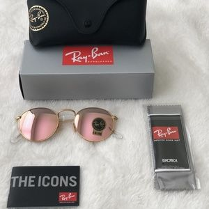 ROSE GOLD ROUND RAY-BAN 100% AUTHENTIC